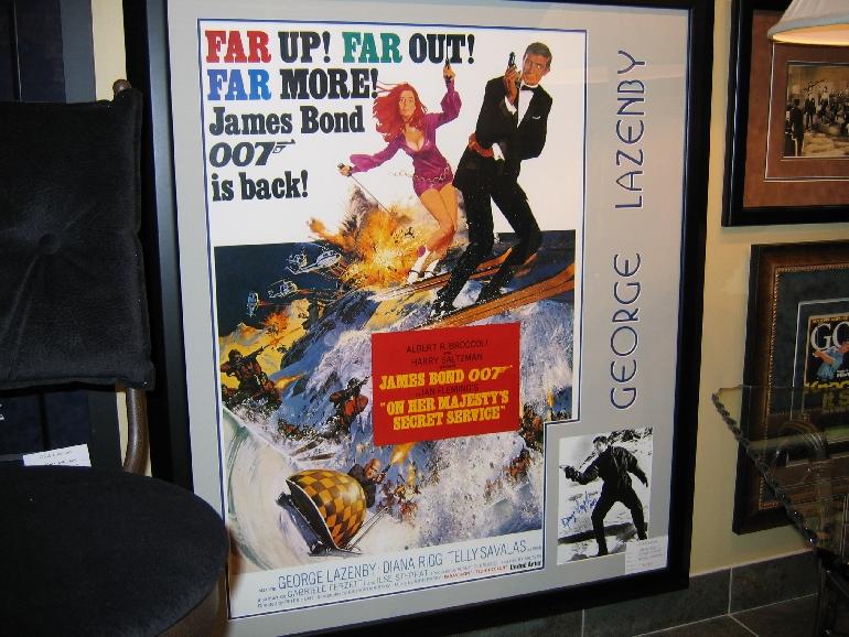 James Bond framed movie memorabilia and autograph