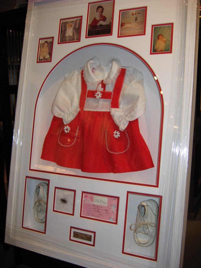 christening dress shadowbox framing