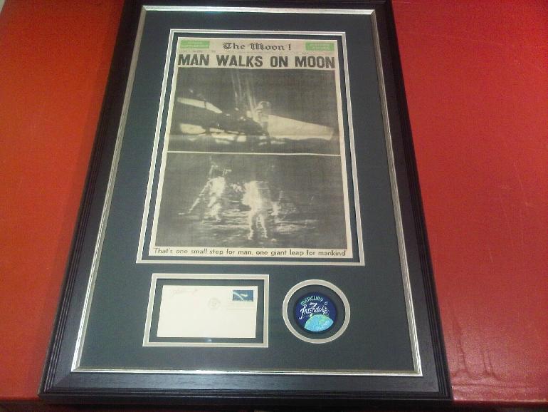 man walks on the moon newspaper framed