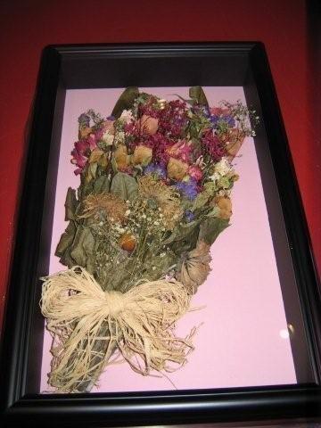 wedding bouquet shadowbox framed